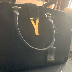 Large Suede Yves Saint Laurent Cabas Tote
